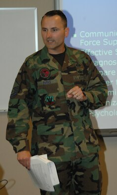 Master Sgt. Joey Parks instructs a class of Senior Airman on communciation techniques. Master Sgt. Parks is the new flight chief of the Samuel O. Turner Airman Leadership School here.