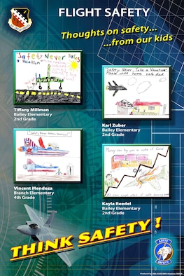 The artwork included in the safety posters were selected as winners of the Safety office's poster contest will be displayed throughout the Edwards Air Force Base, Calif. (Courtesy graphic)