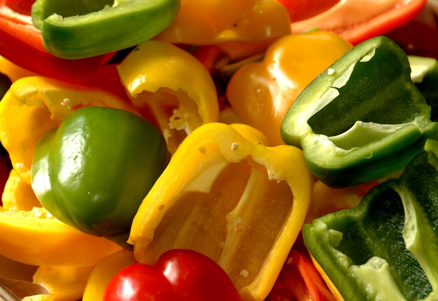 """SPANGDAHLEM AIR BASE, GERAMNY -- Bell Peppers are part of a nutritious lunch time experience at the Mosel Dining Facility, that keeps Airmen """"Fit to Fight"""" and mission ready, Spangdahlem Air Base, Germany, June 5, 2007. (U.S. Air Force photo/Airman 1st Class Stephanie Clark)"""