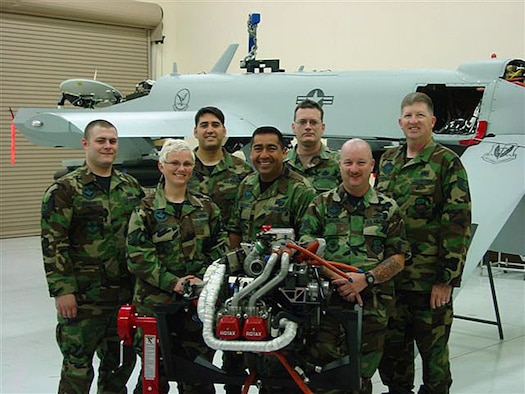 Field training detachment instructors from the 163 RW, March Air Reserve Base (left to right) Technical Sgt. Heath Branham, Technical Sgt. Jennifer Oberg, Technical Sgt.Mike Adams, Master Sgt. Bill Salinas, Senior Master Sgt.John Clayton, Technical Sgt. Bryan Miller and Technical Sgt. Carson Brassfield. (U.S. Air Force photos by Master Sgt. Bill Salinas)