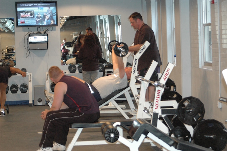 Members of the 388th Fighter Wing take advantage of the new pilot gym built primarily to prepare F-16 pilots for the rigors of their highly-maneuverable aircraft and modernized helmets. The gym is equipped with two certified personal trainers and equipment from the Hess fitness center. (Photos by Senior Airman Stefanie Torres)