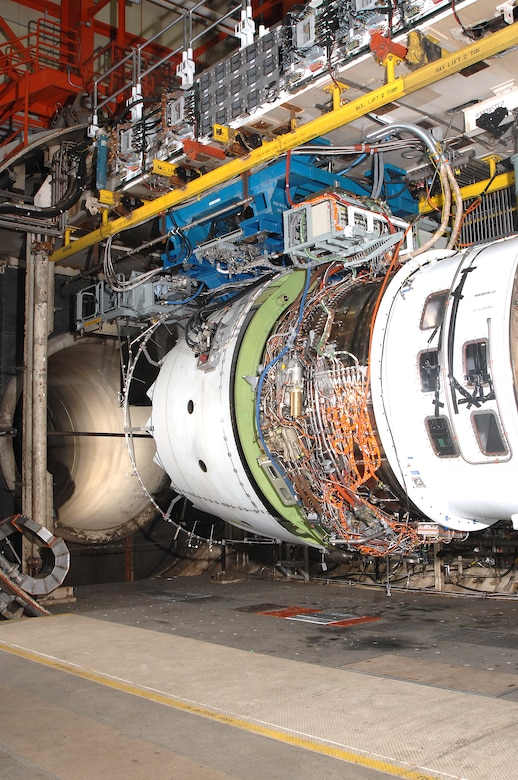 The Rolls-Royce Trent 1000 aircraft engine was tested in the Aeropropulsion Systems Test Facility at Arnold Engineering Development Center, Arnold Air Force Base, Tenn. (Photo by David Housch)