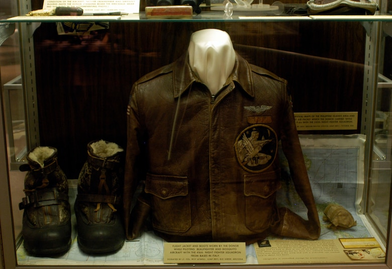 DAYTON, Ohio -- Flight jacket and boots worn by the donor while piloting the Beaufighter and Mosquito aircraft with the 416th Night Fighter Squadron from bases in Italy. Items on display in the World War II Gallery at the National Museum of the U.S. Air Force were donated by Lt. Col. (Ret.) Roy Atwell. (U.S. Air Force photo)
