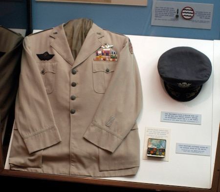 DAYTON, Ohio -- Col. Bernt Balchin's Class A blouse and cap on display in the World War II Gallery at the National Museum of the U.S. Air Force. Donated by Mrs. Bernt Balchen of Chappaqua, N.Y. (U.S. Air Force photo)