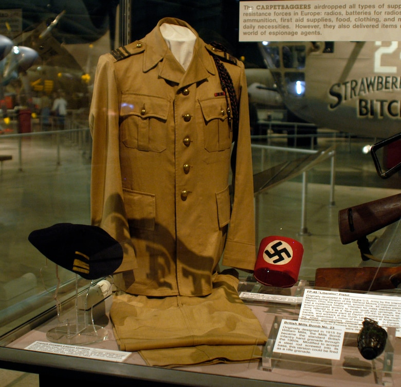 DAYTON, Ohio -- Shot down over Germany in 1944, Col. (Ret.) George Weinbrenner evaded capture and joined the resistance forces in France. The widow of a French resistance fighter presented him this uniform in 1944. The uniform is on display in the World War II Gallery at the National Museum of the U.S. Air Force. (U.S. Air Force photo)
