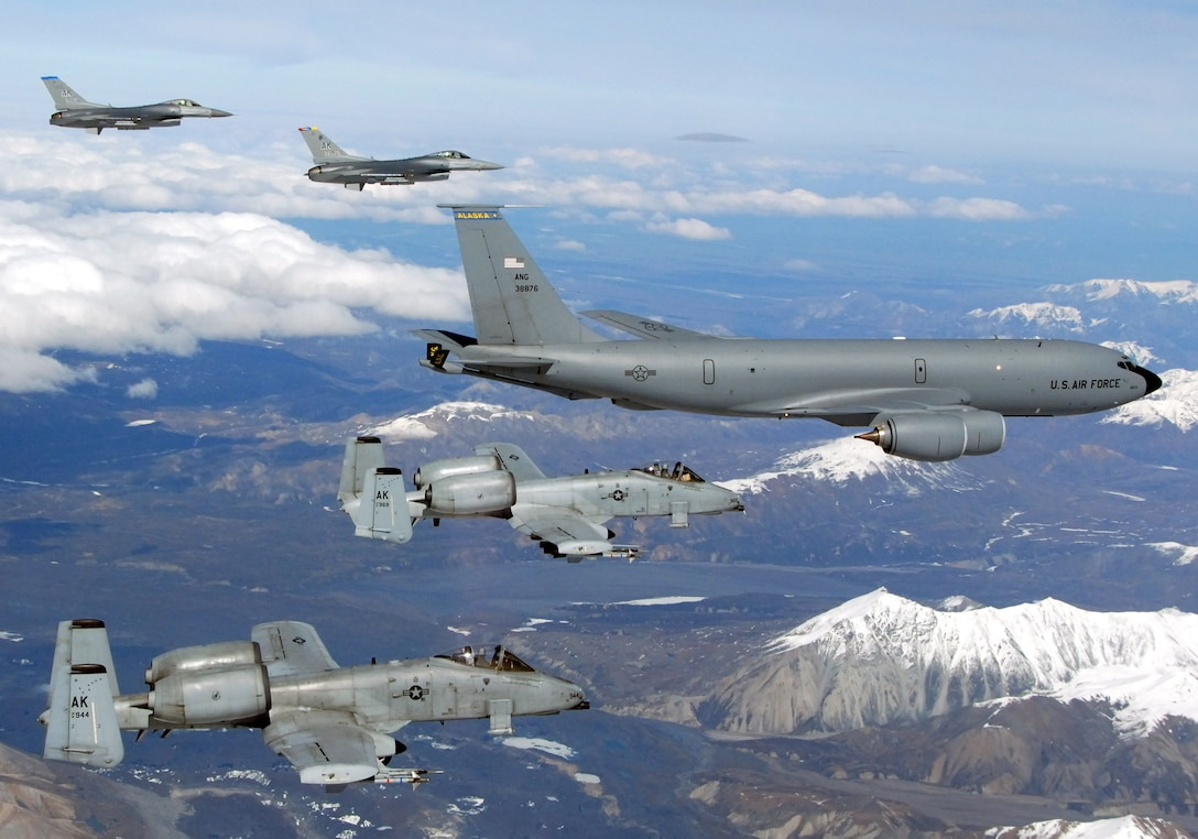 A KC-135 Stratotanker with the Alaska Air National Guard's 168th Air Refueling Wing  flies with two F-16 Fighting Falcons from the 18th Fighter Squadron and two A-10 Thunderbolt IIs from the 355th Fighter Squadron May 29 over Alaska. The five aircraft assigned to Eielson Air Force Base, Alaska, flew in formation for the last time due to the deactivation of the 18th and 355th Fighter Squadrons. (U.S. Air Force photo/Master Sgt. Rob Wieland)