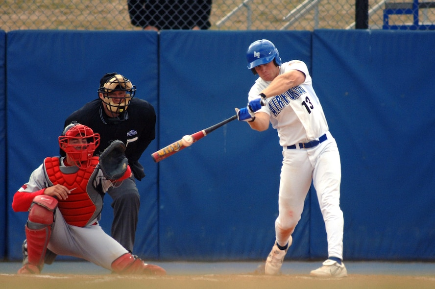 Karl Bolt, then a senior cadet at the U.S. Air Force Academy, connects on the first of his two home runs during a game March 22, 2007 against San Diego State.  Bolt was selected by the Philadelphia Phillies in the 15th round of the 2007 Major League Baseball Amateur Draft June 8. Learn about the aerospace principles of throwing a curve ball at Family Day on Sat. June 16, 2018. (U.S. Air Force photo/Mike Kaplan)
