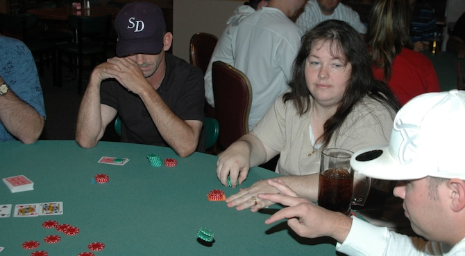 Members from Ellsworth participate in a round of Texas Hold' em June 8 at the Dakotas. Texas Hold' em starts at 6:30 p.m. every Friday night through Aug. 24. It's free for club members to play and $10 for all others. Prizes are given each week to the top three finishers and the top finisher will play in a final match at the end of the season for a round-trip ticket to Las Vegas. For more information, call Dakotas Club at 385-1765. (U.S. Air Force photo/Tech. Sgt. Todd Wivell)