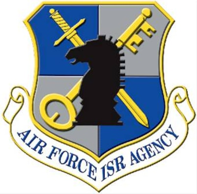 The shield of the Air Force Intelligence, Surveillance and Reconnaissance Agency at Lackland Air Force Base, Texas.