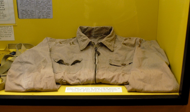 DAYTON, Ohio -- Cotton flight suit worn by the donor, a B-29 gunner, on bombing raids against Japan from the Marianas. The item, on display in the World War II Gallery at the National Museum of the U.S. Air Force, was donated by Donald F. Goetz, Homewood, Ill. (U.S. Air Force photo)