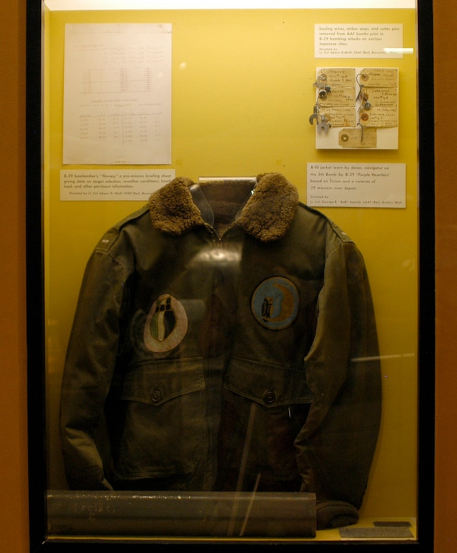 "DAYTON, Ohio -- This B-10 jacket worn by George R. ""Bob"" Vovrick, navigator on the 5th Bomb Squadron B-29 ""Purple Heartless"" based on Tinian and a veteran of 29 missions over Japan, is on display in the World War II Gallery at the National Museum of the U.S. Air Force. (U.S. Air Force photo)"