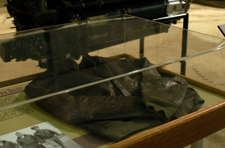 "DAYTON, Ohio - Col. Hubert ""Hub"" Zemke A-2 flight jacket on display in the World War II Gallery at the National Miuseum of the U.S. Air Force. (U.S. Air Force photo)"