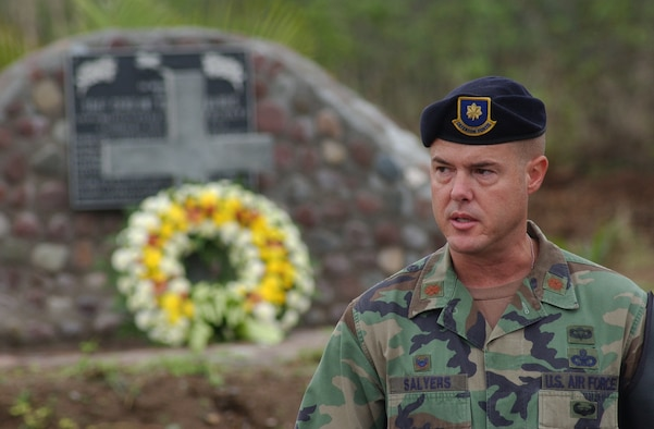SOTO CANO AIR BASE, Honduras – Maj. Shaun Salyers, Joint Security Forces commander, speaks during the memorial service for Army Staff Sgt. Randall J. Harris, who died from wounds suffered in the line of duty here on June 13, 1987.  Each year, Joint Task Force-Bravo holds a memorial service in remembrance of Sergeant Harris.   (U.S. Air Force photo/Tech. Sgt. Sonny Cohrs)