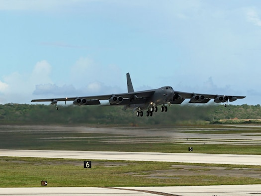 ANDERSEN AIR FORCE BASE, Guam - A B-52H currently deployed to Andersen from Barksdale Air Force Base, La., takes off for a mission.  B-52s like the one seen in this picture has been in the Air Force inventory since 1960.  (Photo by Senior Master Sgt. Mahmoud Rasouliyan/ 36th Expeditionary Aircraft Maintenance Squadron)