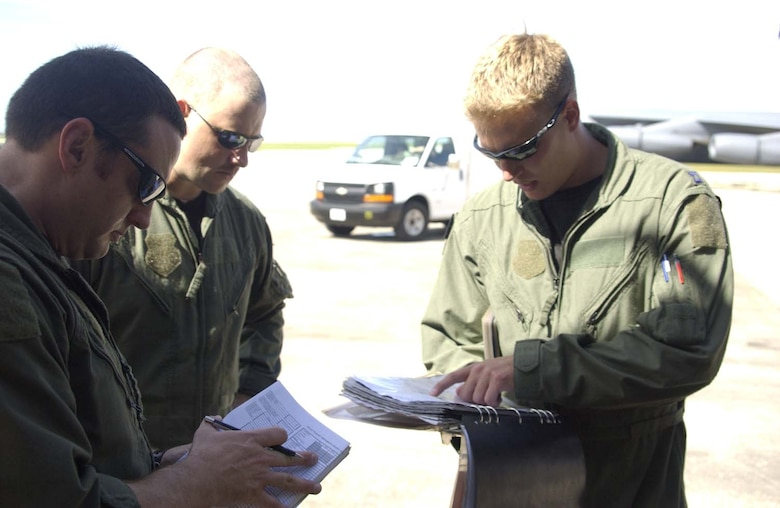 ANDERSEN AIR FORCE BASE, Guam - An aircrew follows their pre-flight checklist prior to a mission. (Photo by Master Sgt. Art Webb/ 36th Operations Group)