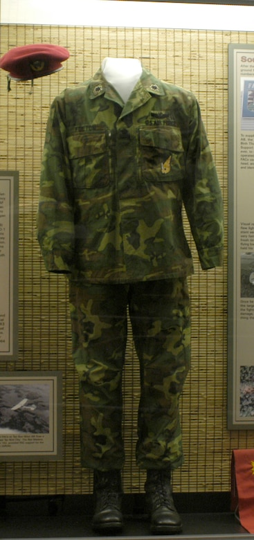 DAYTON, Ohio - Uniform worn by Col. William J. Fulton in the late 1960s. He was a USAF FAC from the 19th TASS assigned to the elite South Vietnamese Airborne Brigade headquartered at Tan Son Nhut AB. To avoid standing out and becoming a target for snipers, these FACs–call sign Red Marker–wore the Vietnamese uniform, but with USAF insignia. This item is on display in the A Dangerous Business: Forward Air Control in Southeast Asia exhibit in the Southeast Asia War Gallery at the National Museum of the U.S. Air Force. (U.S. Air Force photo)