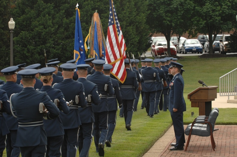 11th Wing Honor Guard pass in review during Col. Chesnut?s retirement on June 15 at Bolling AFB, Washington D.C.