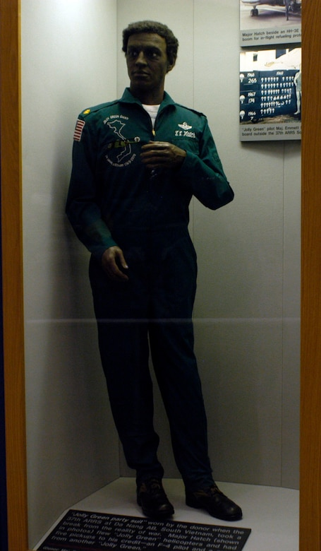 DAYTON, Ohio -- This Jolly Green party suit, worn by Maj. Emmett E. Hatch Jr., who flew Jolly Green helicopters and had five pick-ups to his credit, is on display in the Southeast Asia War Gallery at the National Museum of the U.S. Air Force. (U.S. Air Force photo)