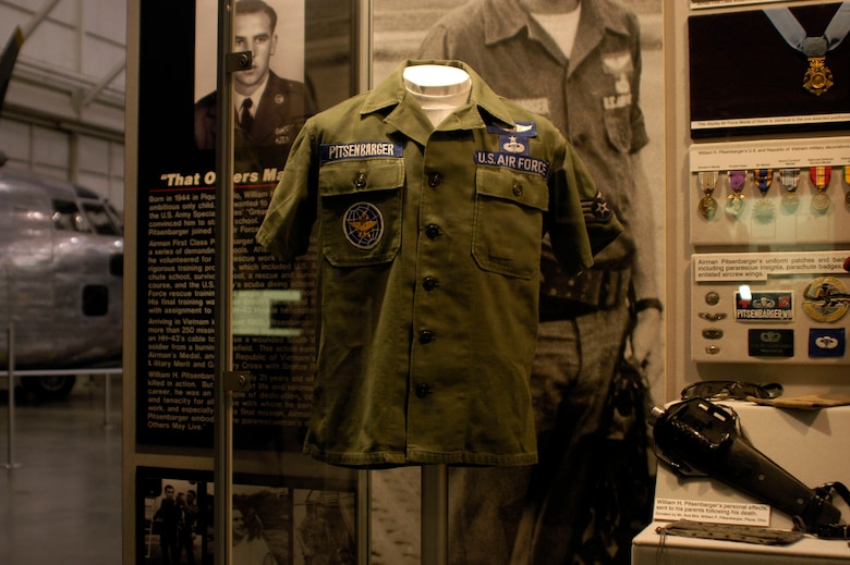 DAYTON, Ohio - Part of Airman 1st Class William H. Pitsenbarger's uniform on display in the Southeast Asia War Gallery at the National Museum of the U.S. Air Force. (U.S. Air Force photo)
