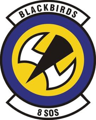 8th Special Operations Squadron emblem significance: Ultramarine blue and Air Force yellow are the Air Force colors.  Blue alludes to the sky, the primary theater of Air Force operations.  Yellow refers to the sun and the excellence required of Air Force personnel.  The stylized blackbird conveys movement and flight.  The flight direction is indicative of the squadron's low-level mission.  The body of the stylized blackbird reinforces the squadron's unconventional warfare role and the operations during darkness.  The wings symbolize the squadron's unique CV-22 mission and the twin prop-rotors of the Osprey's tiltrotor design.