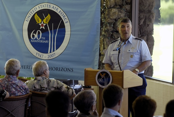 HONOLULU, Hawaii -- Gen. Paul V. Hester, commander of Pacific Air Forces, speaks to the PACAF Air Force Civilian Advisory Council and other leaders of the Honolulu community at the Air Force Week Honolulu Kickoff Luncheon today at the Oahu Country Club. Air Force Week Honolulu is scheduled for September 7-15. (U.S. Air Force photo/ Tech. Sgt. Shane A. Cuomo)