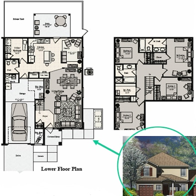Above, one of the Thrower Park floor plans. Right, a color rendering of what the Thrower Park homes for junior noncommissioned officers will look like.  Other drawings can be seen at the base housing office.