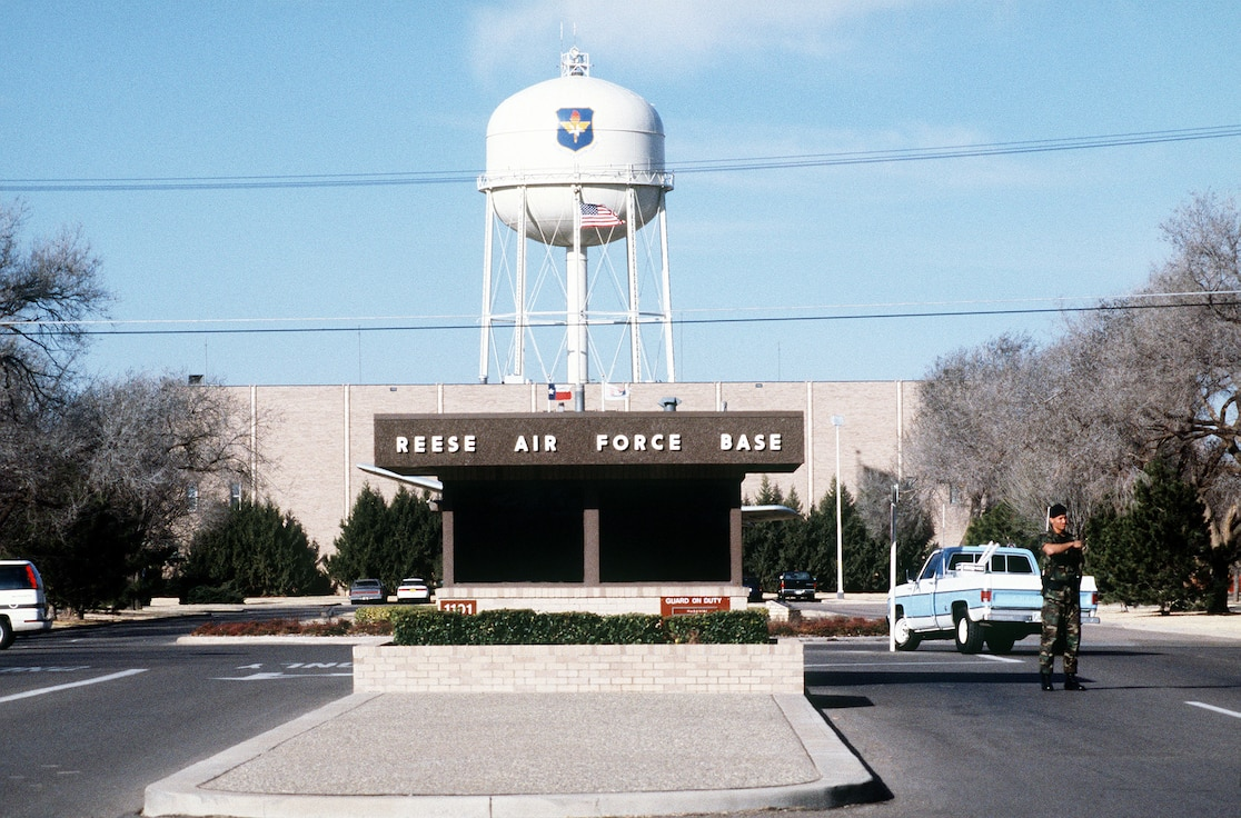 A close-up view of the main gate of the former Reese Air Force Base, Texas prior to the installation's closure.