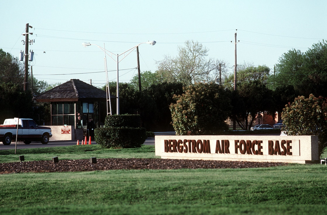 A right side view of the main gate at the former Bergrstrom Air Force Base, Texas, prior to the installation's closure in 1993.