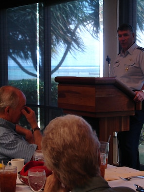 HONOLULU, Hawaii -- Gen. Paul V. Hester, commander of Pacific Air Forces, speaks to the Consular Corps of Hawaii on PACAF's engagement strategy within the Asia-Pacific region at the Waialae Country Club. The general addressed thirty-five representatives of the Corps, including those from Tonga, Japan, Republic of Korea, Sri Lanka, Micronesia, and Denmark. (USAF photo by 1st Lt Renee H. Lee)
