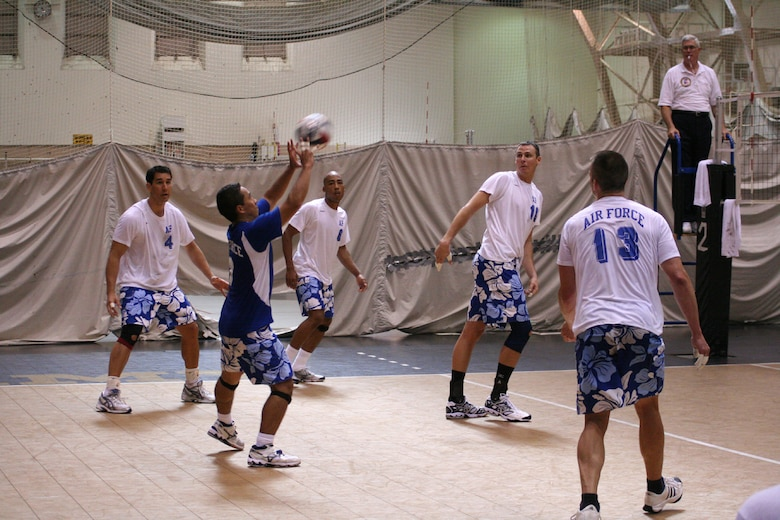 First Lt. Keola Lacar, 508th Aircraft Sustainment Wing, sets a ball during the 2007 Armed Forces Vollyeball Tournament at West Point Military Academy, N.Y. (Courtesy photo)