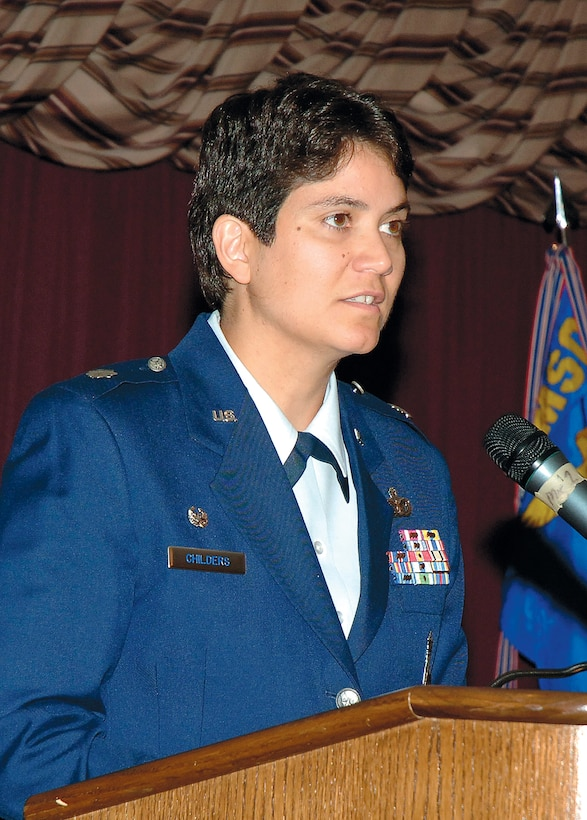 Lt. Col. Lisette Childers addresses Airmen of the 72nd Security Forces Squadron after assuming command of the squadron during a June 18 ceremony. (Air Force photo by Kirk McPheeters)
