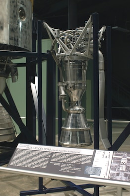 DAYTON, Ohio -- Bell Model 8048 liquid-fuel engine on display in the Missile & Space Gallery at the National Museum of the United States Air Force. (U.S. Air Force photo)
