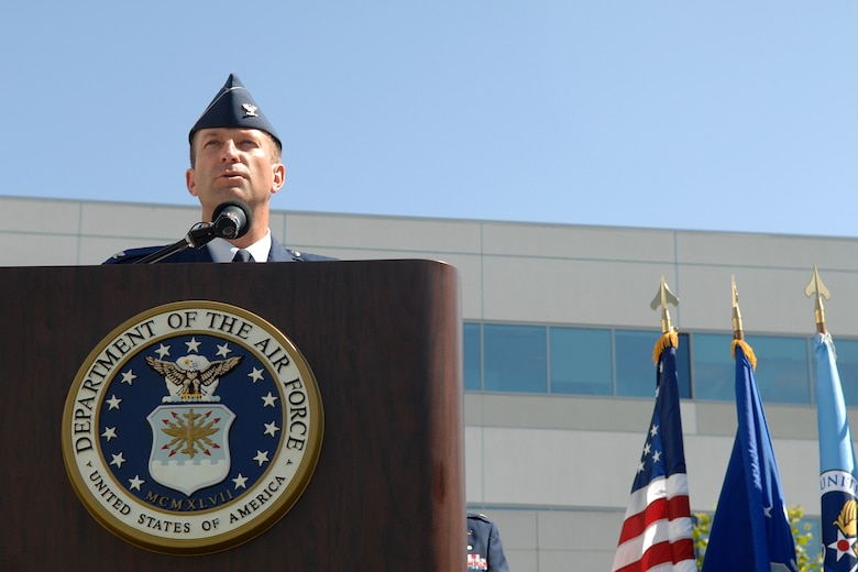 Outgoing GPS Wing Commander Col. Wesley Ballenger addresses the crowd at the wing's change of command ceremony held June 18. Col. David Madden is the wing's new commander. (Photo by Stephen Schester)