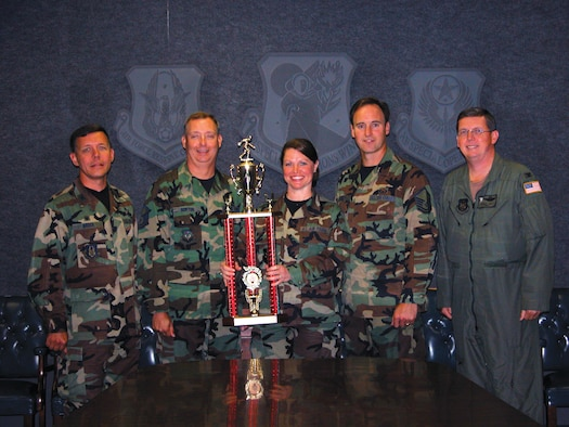 (Left to right) Col. James Brock, 919th Maintenance Group commander, Master Sgt. Jeffrey Norton, 919th Maintenance Squadron, Senior Airman Christina Bicknell,  919th Medical Squadron, Master Sgt. Steven Bicknell, 919th MXS, and Col. Kenneth Ray, wing vice commander, celebrate the 919th MXS Bowling Team?s win of the Eglin Air Force Base Bowling Championship. The two maintainers, dental assistant, and four team members beat the 96th Services Squadron May 29. (U.S. Air Force Photo\Jasmine DeNamur)