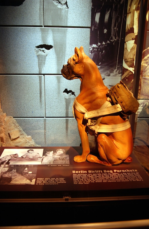 DAYTON, Ohio -- Berlin Airlift dog parachute on display at the National Museum of the United States Air Force. (U.S. Air Force photo)