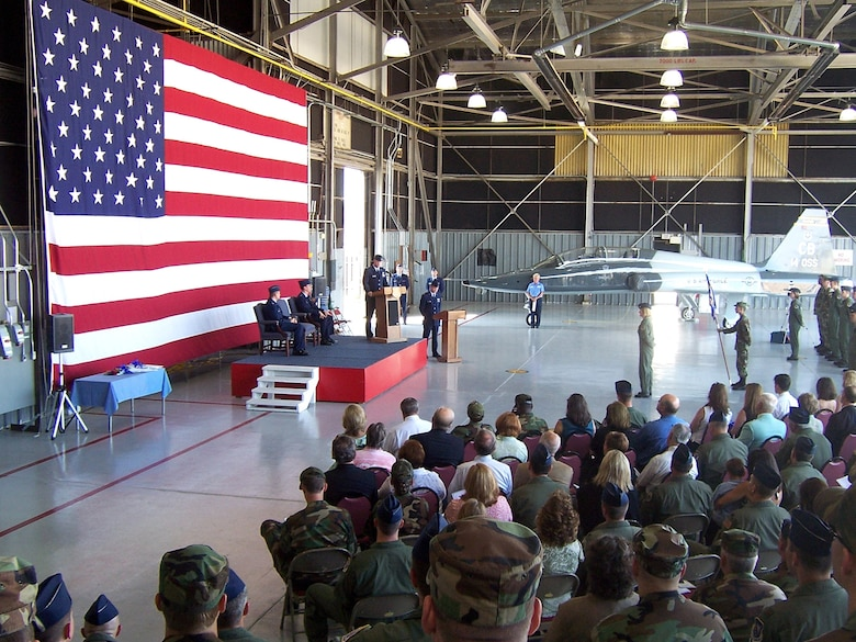 Lt. Col. David Gossett  assumed command of the 14th Operations Support Squadron at a ceremony Thursday at Hangar 4. The 14th OSS provides support to Specialized Undergraduate Pilot Training to include ground and simulator training, academic instruction, contract quality assurance, air traffic control, flight records management, weather support, life support, airfield and airspace management, programming of 94,000 flying hours, transition and international officer management and SUPT special event oversight. (U.S. Air Force Photo by Sonic Johnson)
