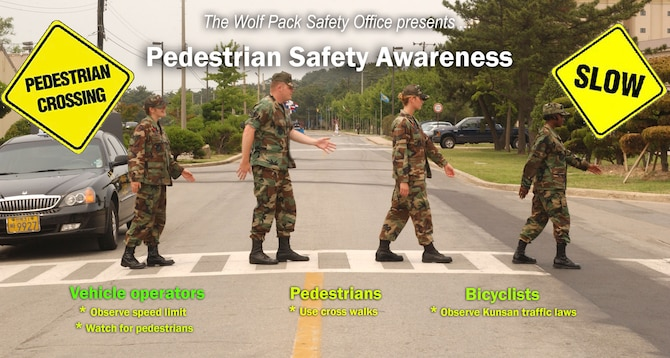 "As part of the Wolf Pack's commitment to the Air Force's 101 Critical Days of Summer, drivers, pedestrians and bicyclists are encouraged to obey the rules of the road. As Kunsan is primarily a ""walking base,"" Wolf Pack safety officials stress the importance that motorists should always be on the lookout for pedestrians. (U.S. Air Force graphic/Senior Airman Stephen Collier)"