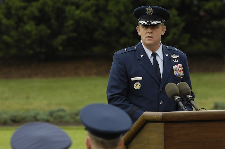 Brig. Gen. Frank Gorenc, Air Force District of Washington commander, delivers his first speech after assuming command of AFDW from Maj. Gen. Robert L. Smolen at the June 29 on the U. S. Air Force Ceremonial Lawn on Bolling. (U.S. Air Force photo by Senior Airman Dan DeCook)
