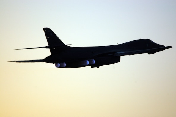 A B-1B Lancer with the 34th Expeditionary Bomb Squadron here takes off on a sortie June 22. The B-1B carries the largest payload of both guided and unguided weapons of any aircraft in the Air Force's inventory. It has been called the backbone of America's long-range bomber force. (U.S. Air Force photo by Senior Airman Clark Staehle)