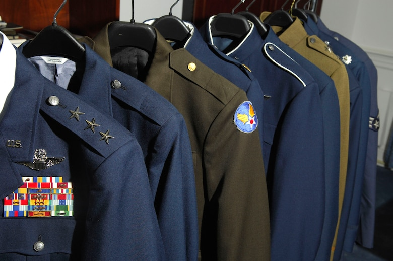 The new Airman Battle Uniforms will start being distributed to Airmen participating in Air Expeditionary Force 7 and 8 before the rest of the Air Force receives them. The new service coat is now in it's developing stage and the service coat has gone through many changes over the years. (U.S. Air Force photo/Tech. Sgt. Cohen A. Young)