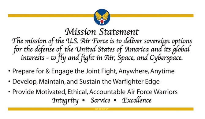 """When Secretary of the Air Force Michael W. Wynne spoke at his town hall meeting at the Pentagon earlier this year, he discussed some of the issues facing the Air Force today, as well as its strengths and his goals for 2007. One of the ways he's spreading those goals is through a mission, or """"goal card."""" (U.S. Air Force graphic)"""