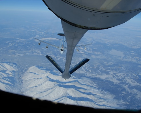 EIELSON AIR FORCE BASE, Alaska--An E-3 Sentry (AWACS)sits in the precontact position awaiting aerial refueling by the 168th Air Refueling Wing, Alaska Air National Guard KC-135 over the arctic on 27 Feb, 2007. The AWACS aircraft is assigned to the 962nd AACS, Elmendorf AFB, Alaska.(U.S. Air Force photo by Master Sgt. Robert Wieland)