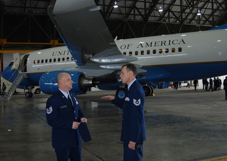 Two Airmen of the 932nd Airlift Wing welcomed a new C-40C Distinguished Visitor airplane straight from the factory.  The wing is the only flying Air Force Reserve Command unit in Illinois.
