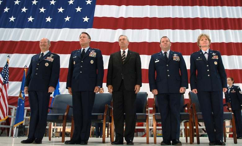 (LEFT TO RIGHT)  General Duncan J. McNabb, Commander, Air Mobility Command presided over the C-40C dedication ceremony; with him are Lieutenant General John A. Bradley, Commander, Air Force Reserve Command; Mr. Ronald C. Marcotte, Boeing Integrated Defense Systems; Colonel Alan L. Hunt, Commander, 375th Airlift Wing; Colonel Maryanne Miller, Commander, 932d Airlift Wing