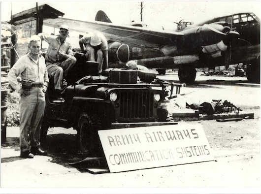 A Type One bomber sits on the Misawa runway in 1945 shortly after the U.S. Army's 32nd Engineering Construction Group's arrival in September. (Courtesy photo)
