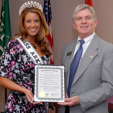 "Sherwood Mayor Dan Stedman presents Second Lt. Kelly George, Miss Arkansas USA, a proclamation declaring March 19-24 as ""Miss Arkansas USA Kelly George Week"" March 1. During her send-off event the evening March 1, Lieutenant George was presented with a key to the city of Sherwood by Mayor Stedman. 