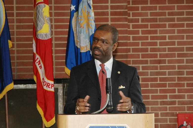 Neville Thompson, a senior engineer in the Office of the Deputy Assistant Secretary of the Air Force (Science, Technology and Engineering), speaks at the African American Heritage Luncheon at Arnold Air Force Base Feb. 23.  He challenged participants to strive to make a difference in the lives of young people by encouragement, mentoring and other acts of service. (Photo by David Housch)