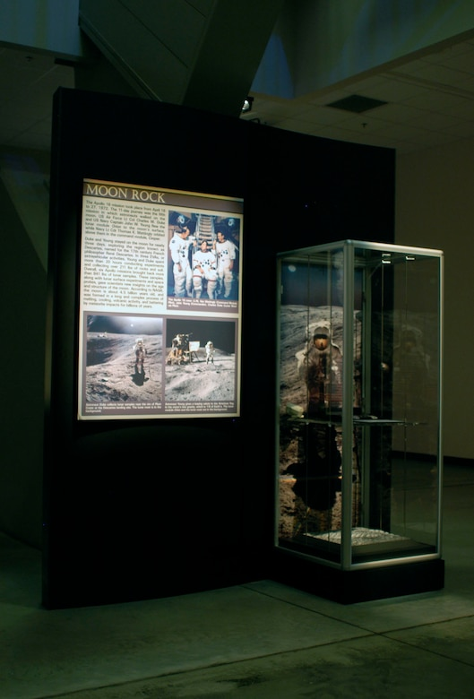 DAYTON, Ohio -- Moon Rock exhibit in the Missile & Space Gallery at the National Museum of the United States Air Force. (U.S. Air Force photo)