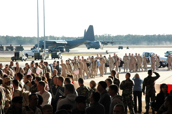More than 200 Airmen returned home from deployment to Southwest Asia early Wednesday morning to a crowd of families and co-workers. (Courtesy photo)