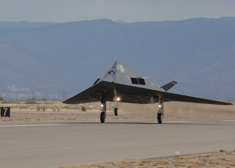 The Gray Dragon F-117A Nighthawk is one of the first to fly into retirement to Tonopah Test Range, Nev., March 12. (U.S. Air Force photo by Airman 1st Class John Strong)